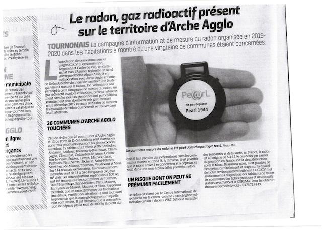 Article hebdo arde che sur radon 19 nov 20