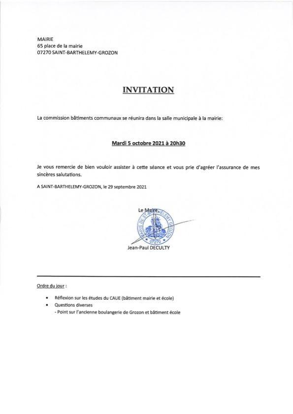 Convocation commission ba timents 05 oct 21