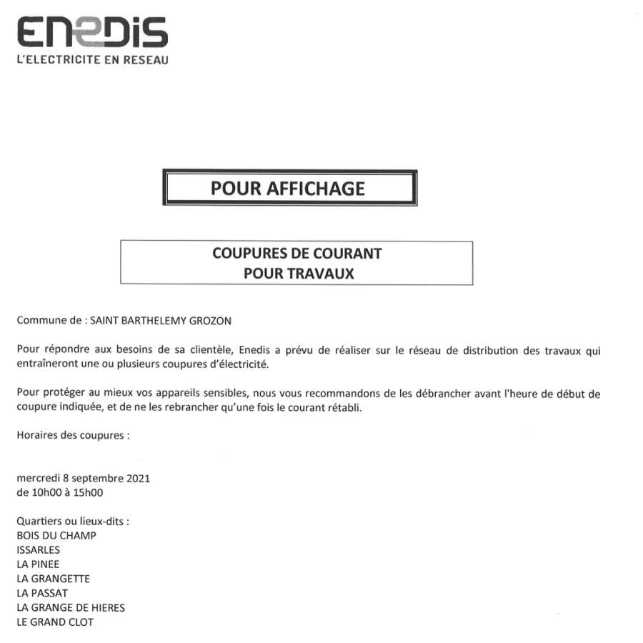 Coupures courant enedis 08 sep 21